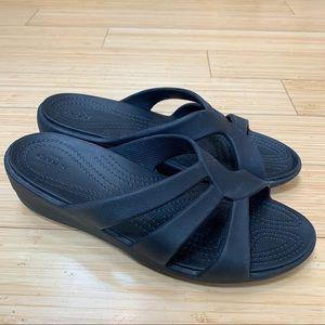 CROCS black women's sandals, 9.